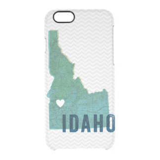 Love Idaho Topographic Blue Map and White Heart Clear iPhone 6/6S Case