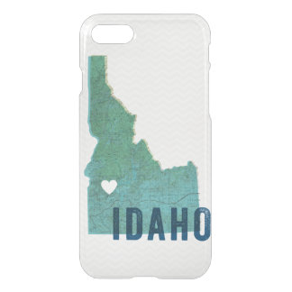 Love Idaho Topographic Blue Map and White Heart iPhone 7 Case