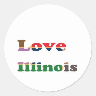 LOVE ILLINOIS ROUND STICKER