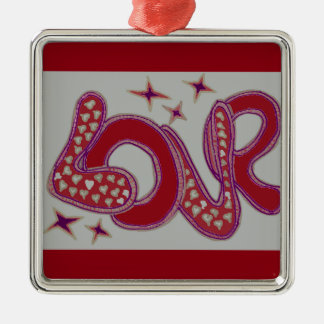 Love in 1960s style christmas ornament