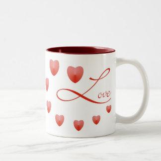 Love in a circle of hearts! Two-Tone coffee mug