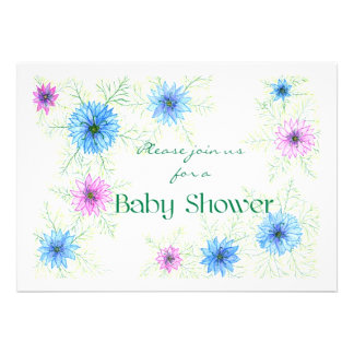 'Love-in-a-mist' Baby Shower Invitation