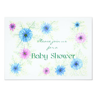 'Love-in-a-mist' Baby Shower Invitation 13 Cm X 18 Cm Invitation Card