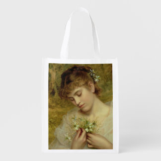 Love in a Mist (oil on canvas) Reusable Grocery Bag