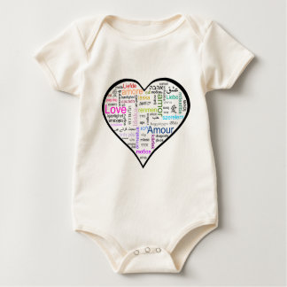 Love in all languages Heart Baby Bodysuit