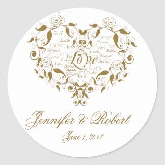 Love in any Language in Gold Envelope Seal Round Sticker