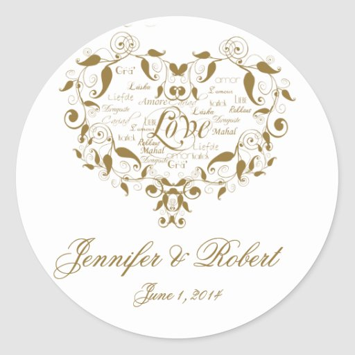 Love in any Language in Gold Envelope Seal Round Stickers