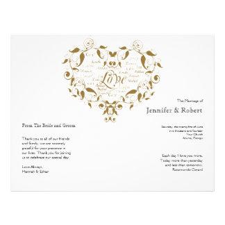 Love in Any Language in Gold Wedding Program 21.5 Cm X 28 Cm Flyer