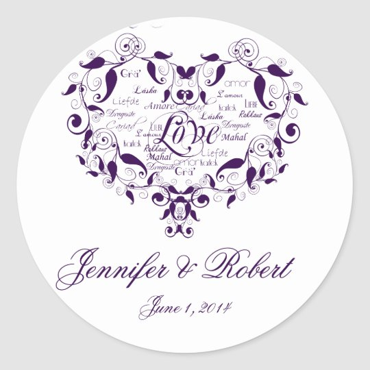 Love in any Language in Purple Envelope Seal