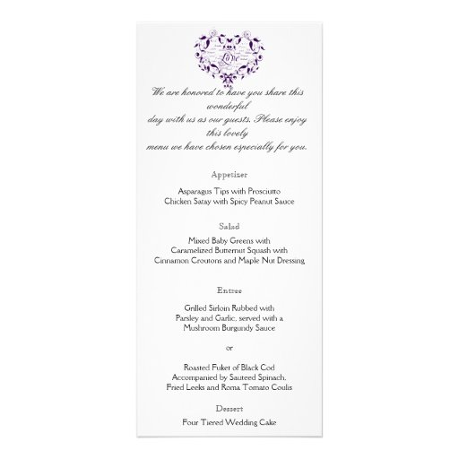 Love in Any Language in Purple Wedding Menu Personalized Rack Card