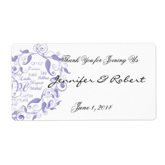 Love in Any Language Lavender Water Bottle Label Shipping Label