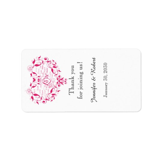 Love in Any Languge Pink Wedding Lip Balm Label