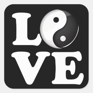 Love in Balance Shiny Yin Yang Symbol Square Sticker