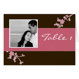 Love in Bloom: Chocolate Brown with Cherry Blossom Greeting Card