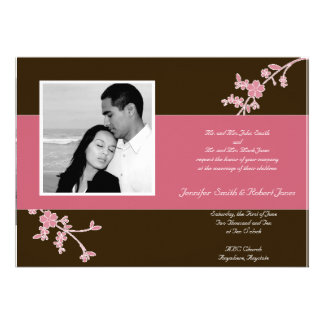 Love in Bloom: Chocolate Brown with Cherry Blossom Invitations