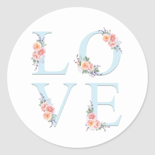 Love in Bloom Rose Floral Classic Round Sticker
