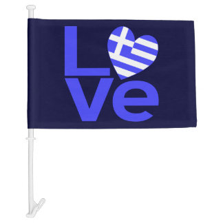LOVE in Blue with Greek Flag Heart Car Flag