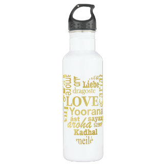 Love in Different Languages in a Heart Shape -Gold 710 Ml Water Bottle