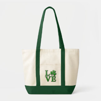 LOVE in Distressed Green Font w/Shamrock Impulse Tote Bag