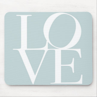 Love in Duck Egg Blue Mouse Mat
