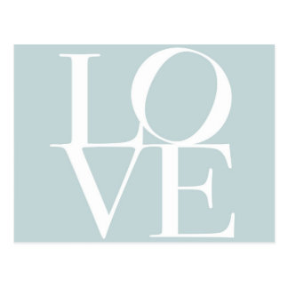 Love in Duck Egg Blue Postcard