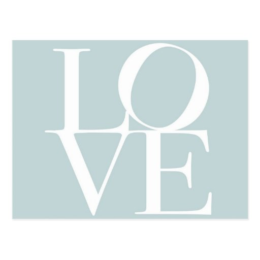 Love in Duck Egg Blue Post Card
