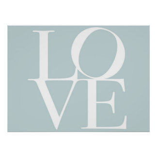 Love in Duck Egg Blue Poster