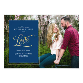 Love in Gold Christmas or Holiday Card 13 Cm X 18 Cm Invitation Card