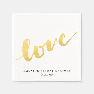 Love in Gold Script, Bridal Shower Paper Napkin