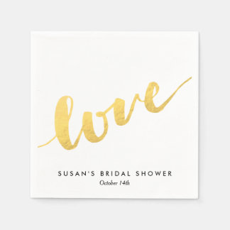 Love in Gold Script, Bridal Shower Paper Serviettes