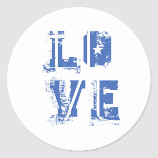 Love in Grungy Urban Blue Round Stickers