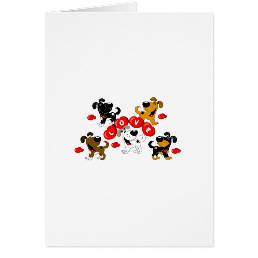 Love in Hearts (Surrounded by Pups) Card