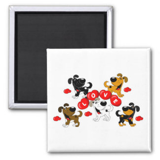 Love in Hearts (Surrounded by Pups) Square Magnet