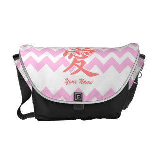 Love in Japanese with Pink Chevron Pattern Messenger Bags