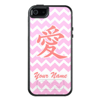 Love in Japanese with Pink Chevron Pattern OtterBox iPhone 5/5s/SE Case