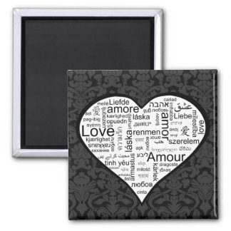 Love in many languages Heart Square Magnet