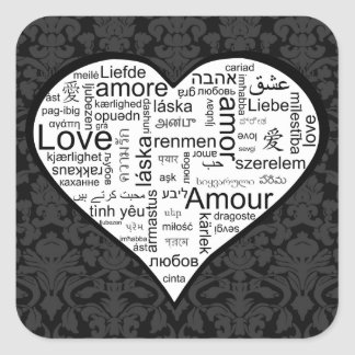 Love in many languages Heart Square Sticker