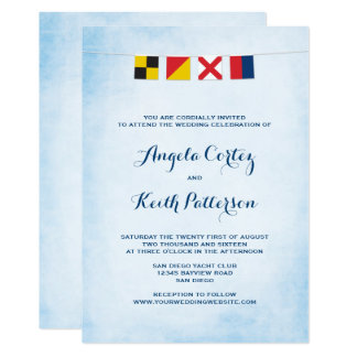 LOVE in Nautical Signal Flags Cloud Blue Card