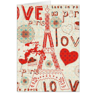 Love In Paris-Eiffel Tower Flowers And Hearts Note Card