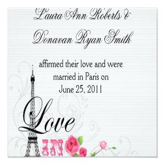 Love in Paris Post Wedding Reception 13 Cm X 13 Cm Square Invitation Card