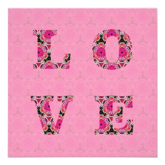 Love in Pink Pattern Wedding Invitations by KCS
