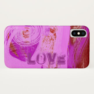 Love in Pink Purple and Red Abstract Design iPhone X Case