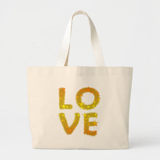 Love in Sparkly Gold Jumbo Tote Bag