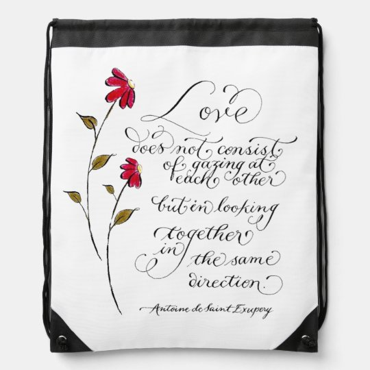 Love in the same direction typography quote drawstring bag