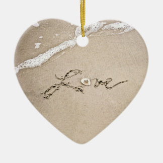 Love in the Sand Beach Christmas Ornament