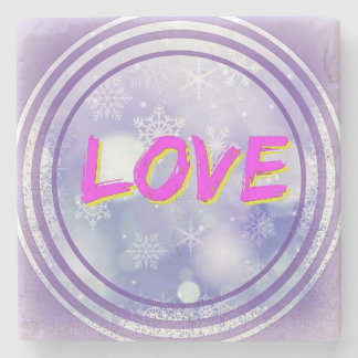 """Love"" in Warm Colours on Marble Coaster"