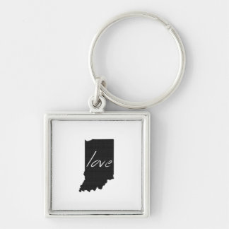Love Indiana Silver-Colored Square Key Ring