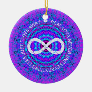 Love Infinity funky purple mandala Christmas Ornament