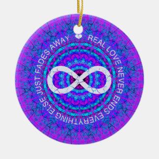 Love Infinity funky purple mandala Round Ceramic Decoration