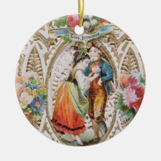 Love, Innocence, Valentine card, c.1870 (colour li Round Ceramic Decoration